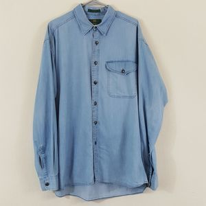 Orvis Vtg Men's Chambray Button Up Long Sleeve XL